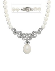Lord And Taylor Sterling Silver Freshwater Pearl Diamond Necklace