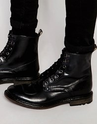 Base London Mercury Lace Up Leather Boots Black