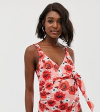 Asos Design Maternity Recycled Wrap Round Swimsuit In Red Floral Print Multi