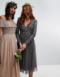 Maya Long Sleeve Wrap Front Midi Dress With Delicate Sequin And Tulle Skirt In Charcoal Grey