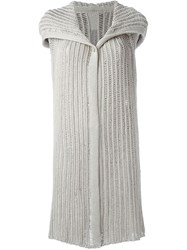 Rick Owens Long Sleeveless Knit Cardigan Nude And Neutrals