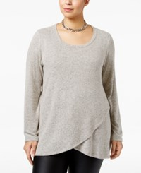 Ing Trendy Plus Size Crossover Sweater Black Sand