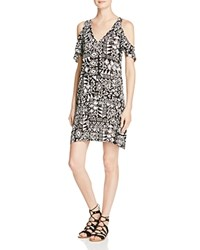 Aqua Cold Shoulder Printed Dress Black White