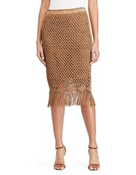 Polo Ralph Lauren Fringe Crocheted Suede Skirt Cortina Tan