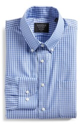 Nordstrom Big And Tall Shop Trim Fit Non Iron Gingham Dress Shirt Blue Hydrangea