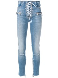 Unravel Project Lace Up Front Skinny Jeans Blue