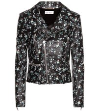 Saint Laurent Classic L01 Floral Printed Leather Jacket Black