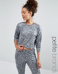 New Look Petite Leopard Print Jumper Grey
