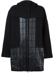 Y 3 Quilted Hooded Coat Black