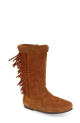 Minnetonka Women's 'Luna' Fringe Boot Brown Suede