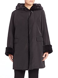 Jane Post Faux Fur Storm Coat Black