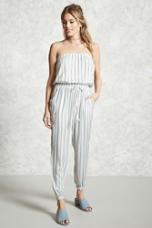 Forever 21 Contemporary Striped Jumpsuit Ivory Blue