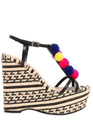 Schutz 130Mm Pompom Leather And Raffia Sandals
