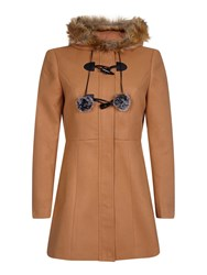 Yumi Duffle Coat With Pompoms Brown