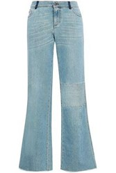Red Valentino Patchwork Faded Mid Rise Bootcut Jeans Light Denim