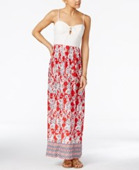 Trixxi Juniors' Lace Up Printed Maxi Dress Red Ivory