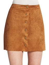 Saks Fifth Avenue Faux Suede Button Front Mini Skirt Tan