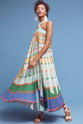Anthropologie Abstraction Maxi Dress Turquoise