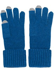 N.Peal Ribbed Gloves With Touch Screen Tips Blue