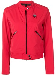 Blauer Zip Cropped Jacket Red