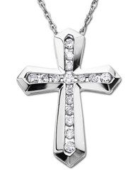 Lord And Taylor Diamond Sterling Silver Cross Pendant Necklace