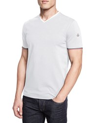 Moncler Tipped Short Sleeve Tee White Size Xx Large