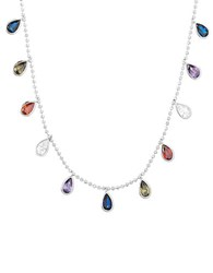 Nes Group Multicolored Crystal Studded Sterling Silver Necklace