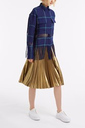 Msgm Fringe Check Shirt Navy