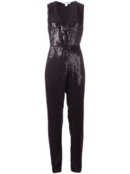 Diane Von Furstenberg Sequined Wrap Jumpsuit Black