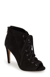 French Connection 'Quillan' Lace Up Peep Toe Bootie Women Black Suede