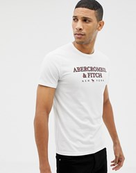 Abercrombie And Fitch Large Chest Logo T Shirt In White
