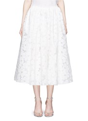 Ms Min Floral Paper Applique Organza Midi Skirt White