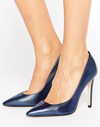Dune Pointed Toe High Heel Court Shoe Navy Metallic