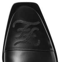 Fendi Logo Embroidered Leather Derby Shoes Black