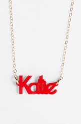 Women's Moon And Lola 'Zebra Block Font' Personalized Nameplate Pendant Necklace Ruby Gold