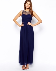 Little Mistress Maxi Dress With Embellished Gathered Bodice Navy