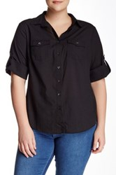 Sandra Ingrish Roll Sleeve Knit Side Shirt Plus Size Black