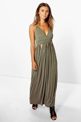 Boohoo Diana Keyhole Detail Maxi Dress Khaki