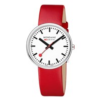 Mondaine Unisex Mini Giant Leather Strap Watch Red White