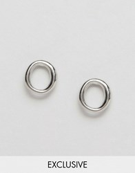Designb London Open Circle Stud Earrings Silver