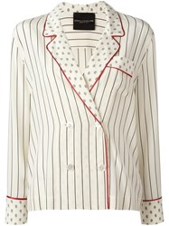 Erika Cavallini Pinstriped Double Breasted Blazer Nude Neutrals