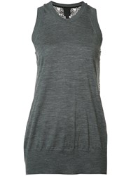 Vera Wang Lace Back Tank Top Grey
