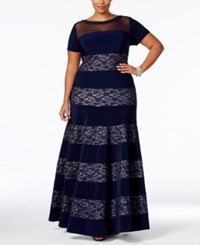 R And M Richards Plus Size Sequined Lace Striped Gown Navy Taupe