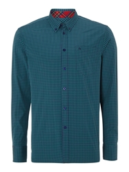 Merc Long Sleeve Gingham Check Shirt Green