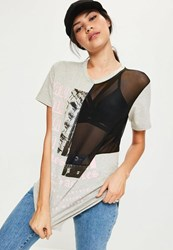 Missguided Grey Oversized Spliced Mesh T Shirt