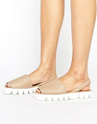 Park Lane Leather Flat Sandal Nude Leather White Beige