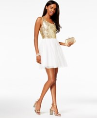 B. Darlin B Juniors' Sequined Pleated A Line Dress Gold White
