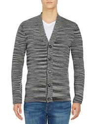 Strellson Marled Button Front Cardigan Sweater Dark Grey