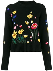 Chinti And Parker Floral Embroidered Jumper Black