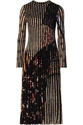 Etro Pleated Jacquard Knit Midi Dress Black